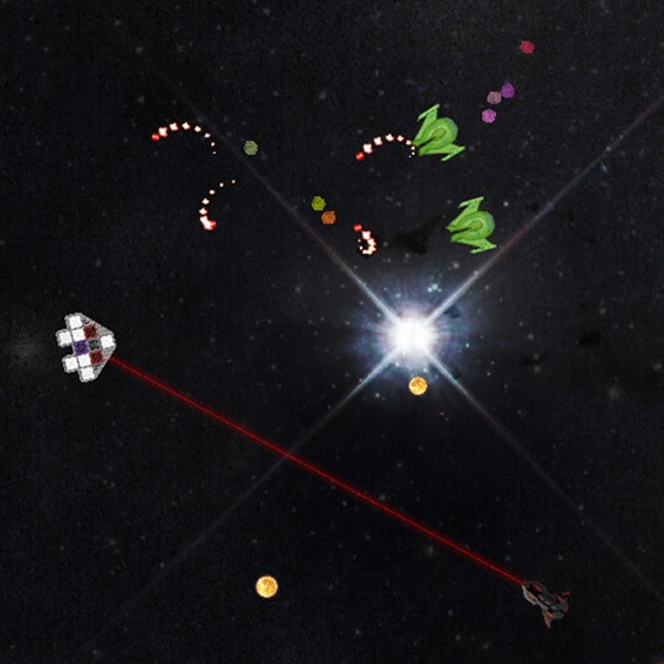 Three spaceships fire laser beams and spirals at a triangular spacecraft.