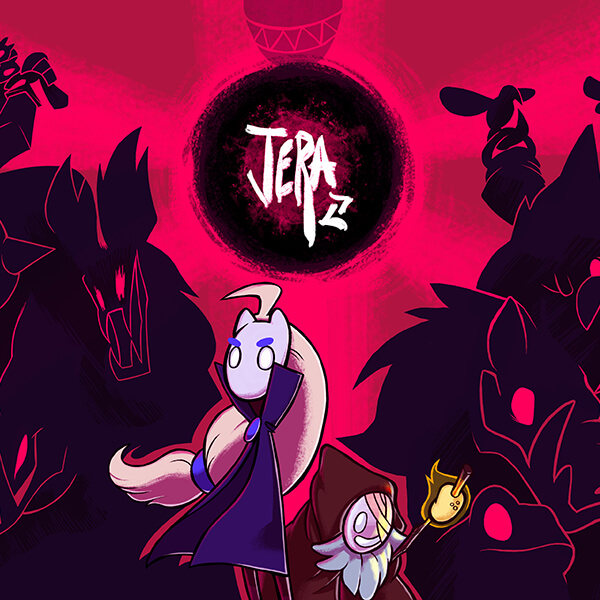 The title screen for Jera, featuring two main characters with silhouettes of monsters behind them