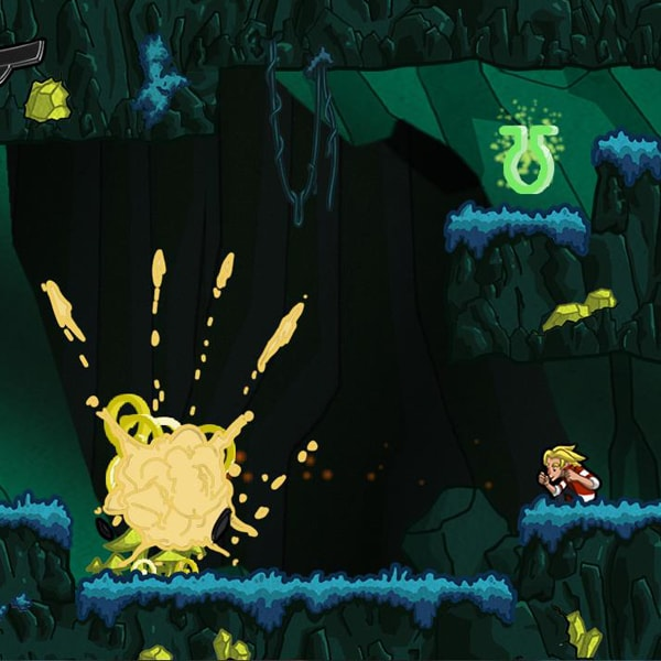 Jero crouches as a yellow explosion occurs across the screen.