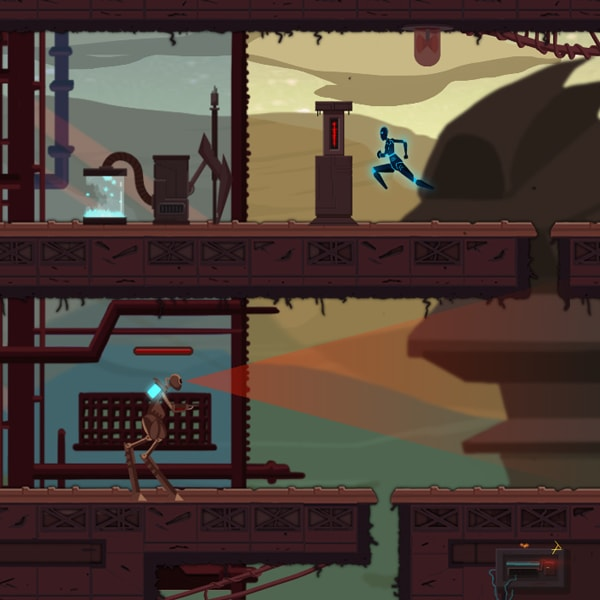 A blue android runs across the top platform of a decaying futuristic world. A robot guards the bottom.