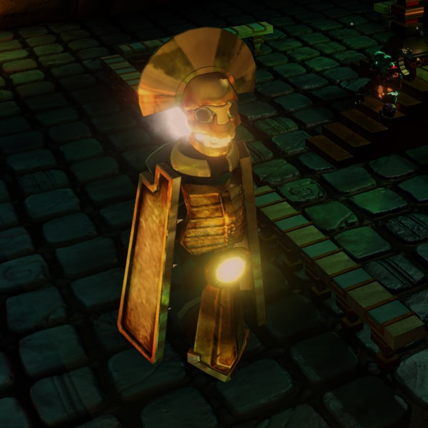 A glowing, gold Aztec statue stands on a cobblestone floor.