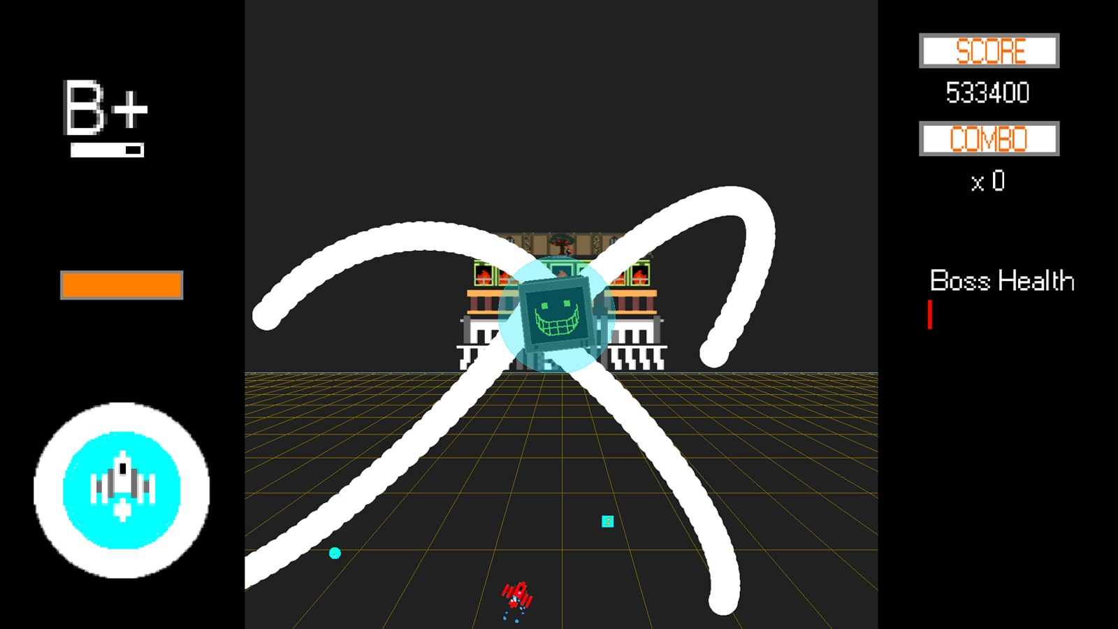 A computer screen with a green grin grows white tendrils. A spaceship hovers below.