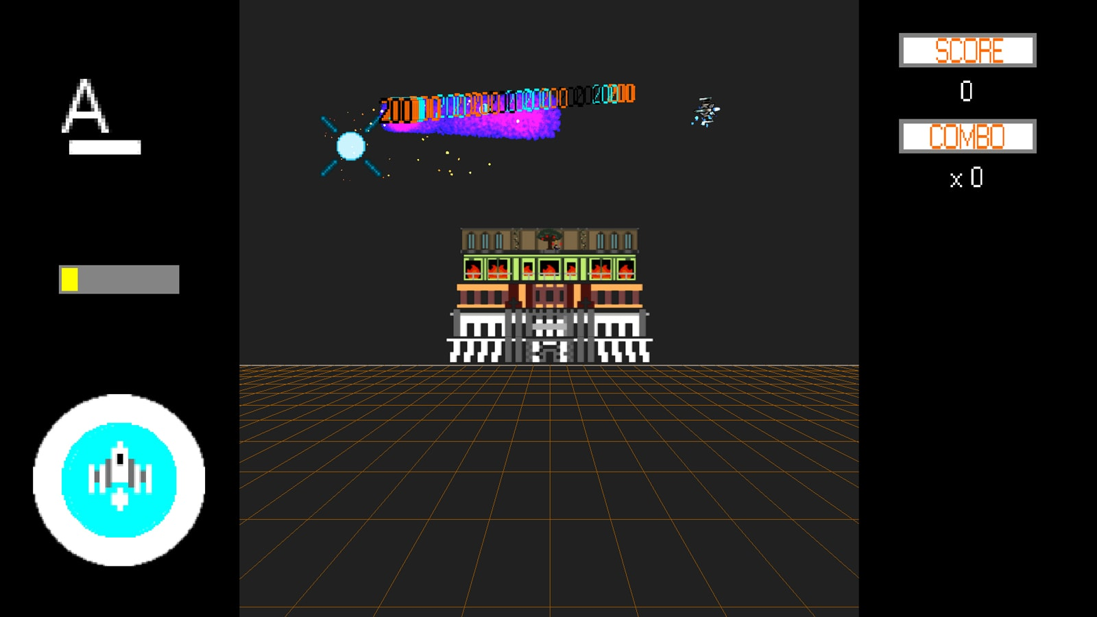 A pixellated building sits in the background of a gridded plane, high score numbers glitching out above it.
