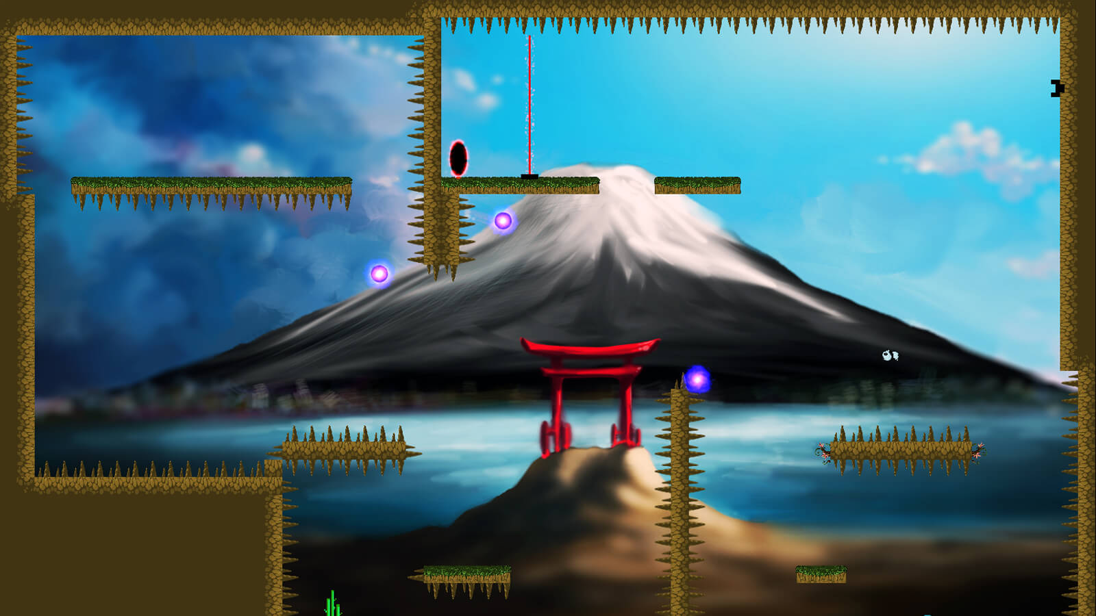 A hazardous level full of spiked surfaces, floating purple orbs, and red laser barriers.