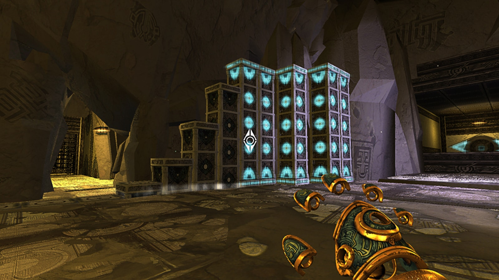 A disembodied metallic hand hovers over a series of glowing columns in a stone temple.