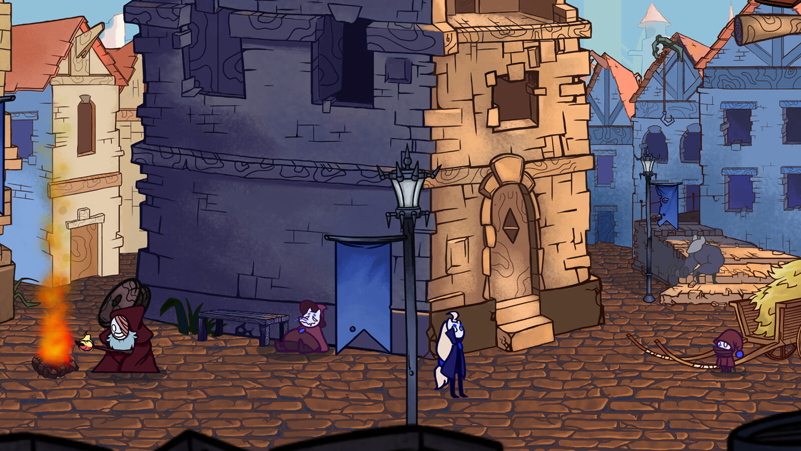 A village scene featuring a character at a campfire, another sleeping against a building, and a giant rat