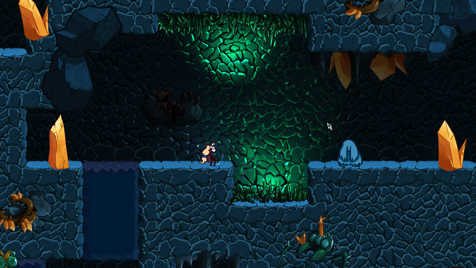 Screenshot featuring main character Jera in a cavern with blue walls
