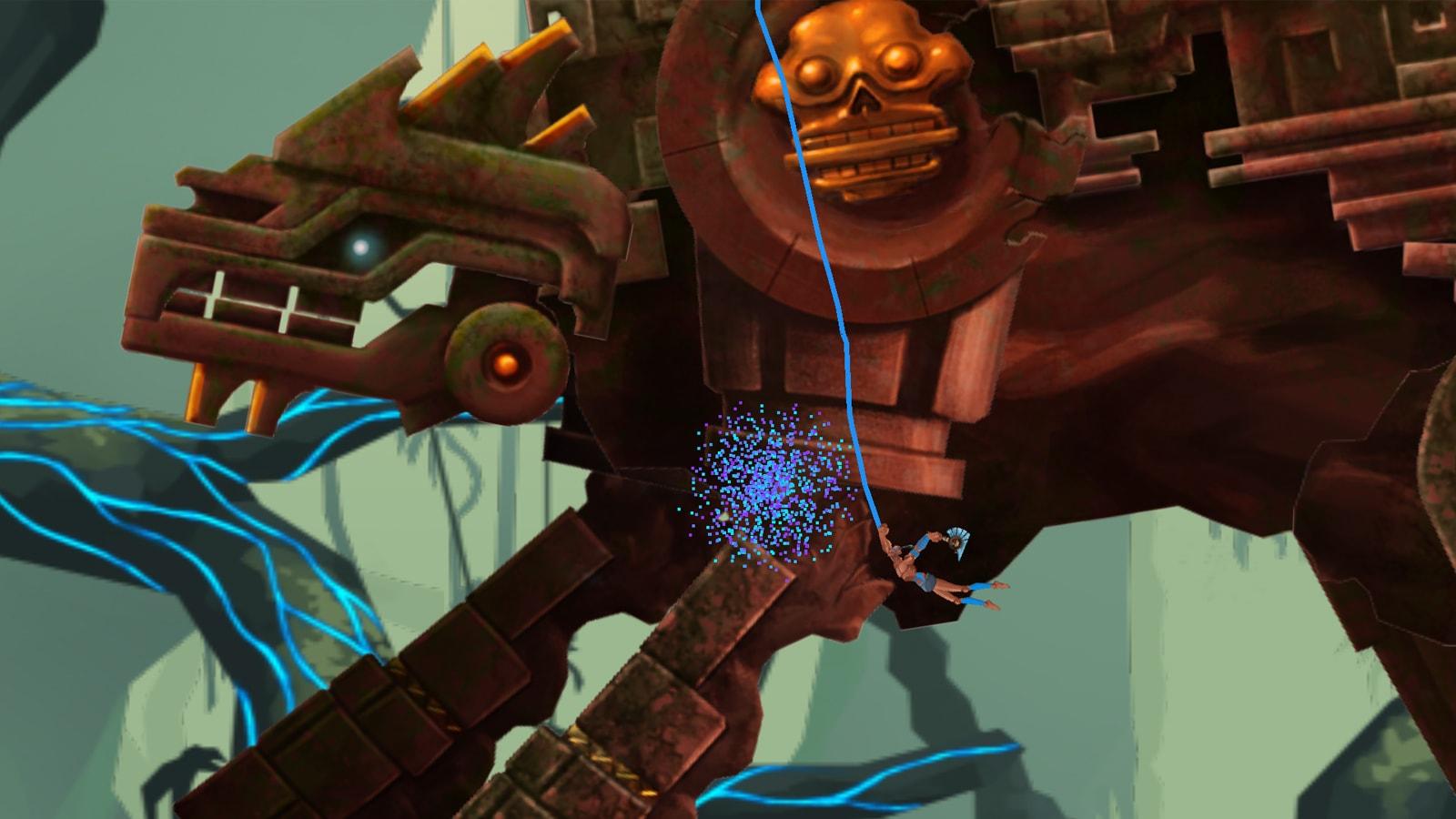 Juan swings by the underside of a massive temple god.