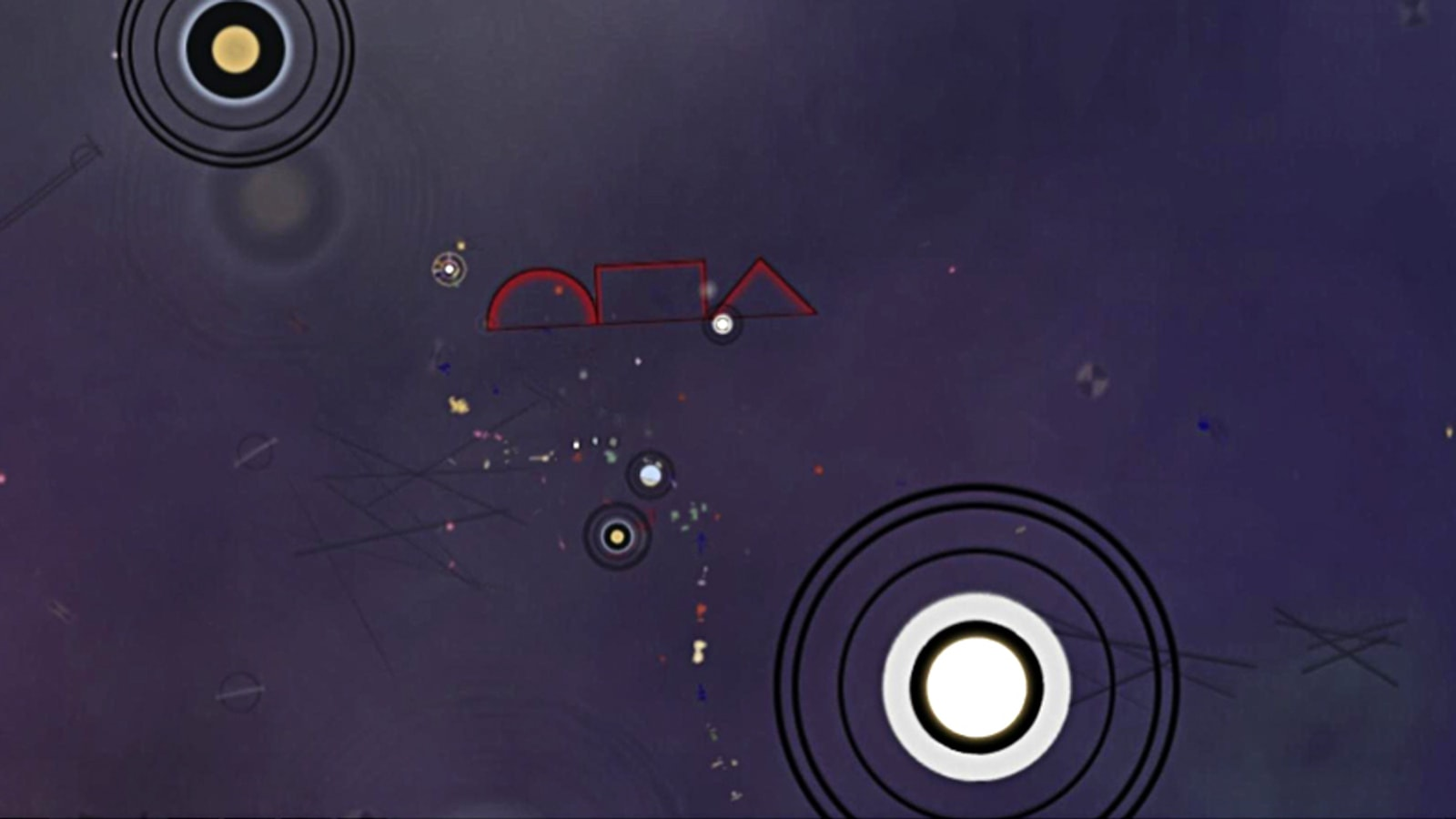 Two floating concentric circles flank a trail of small colorful shapes on a dark purple background.