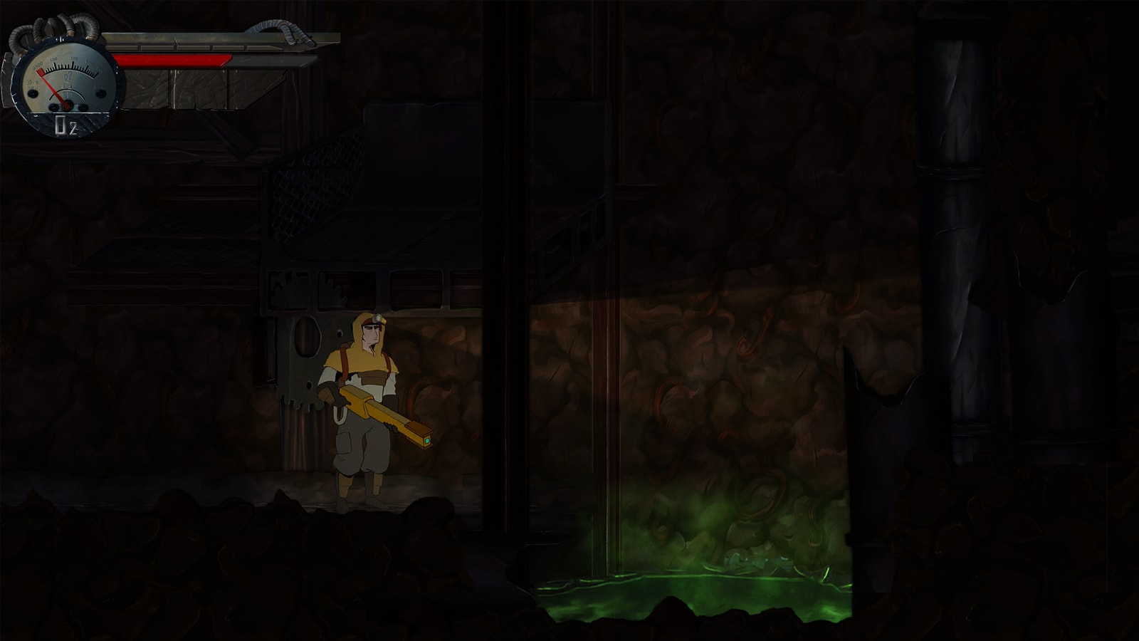 The game's hero looks at a pit full of green, toxic sludge.