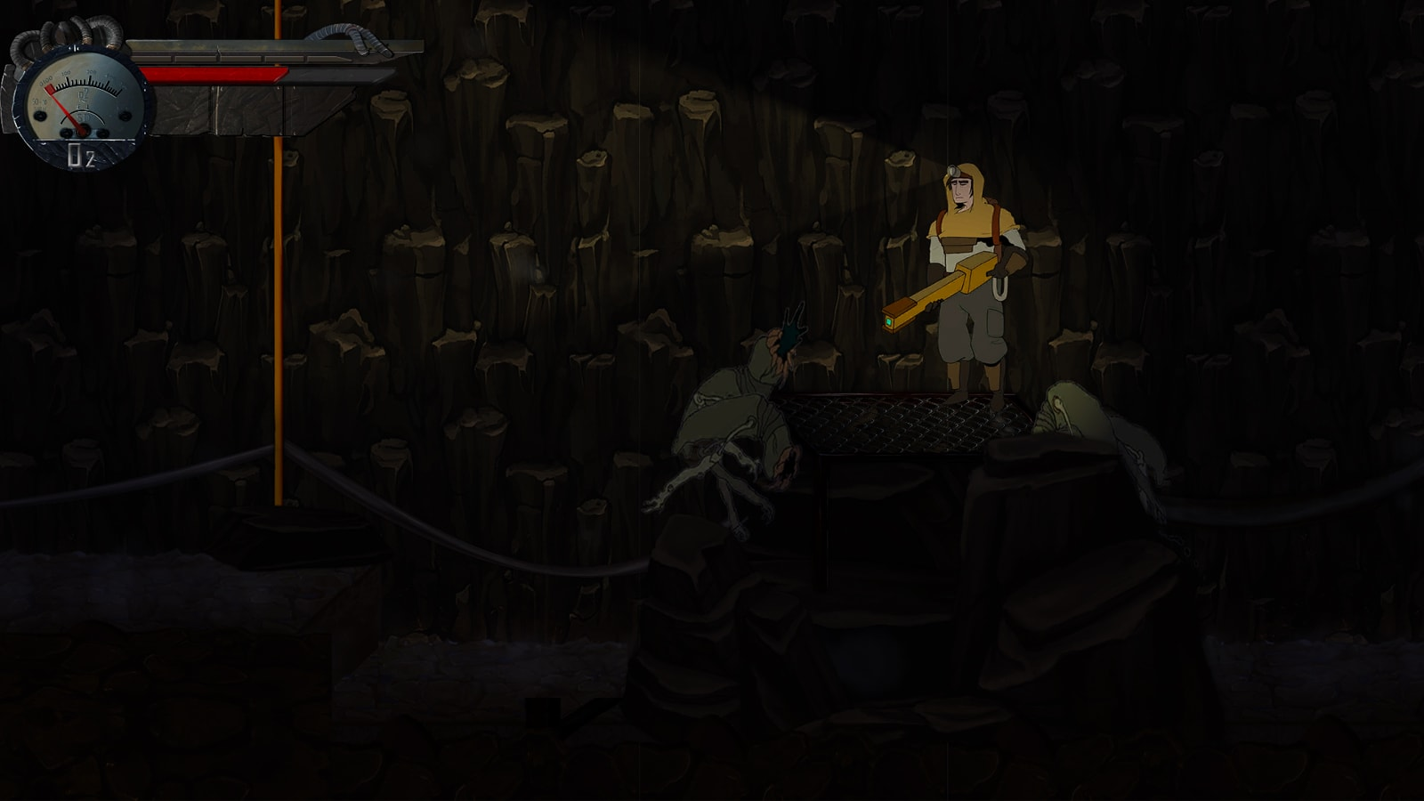 A mutated beast lunges at the game's hero in a dark cavern.