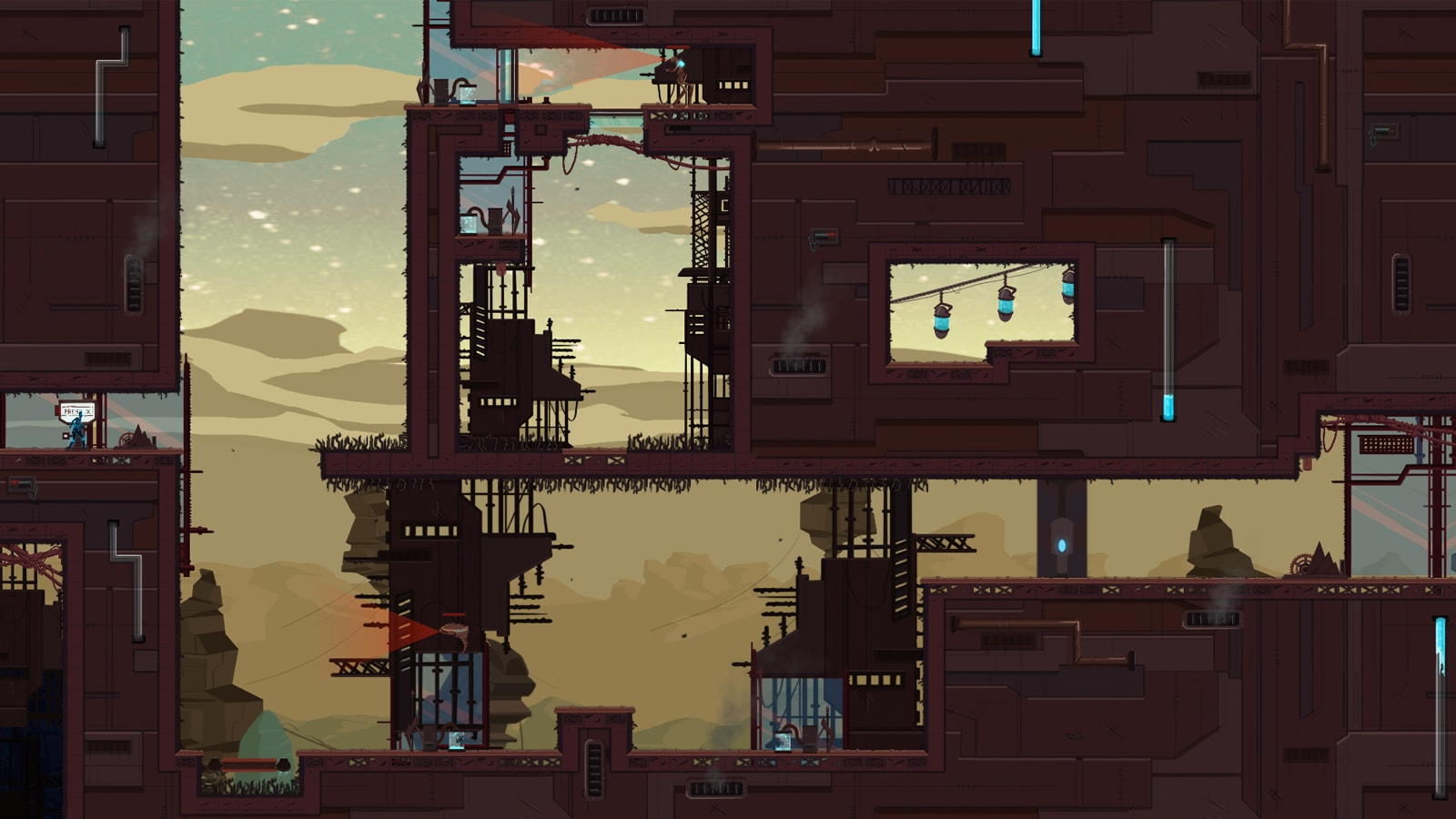 A zoomed-out view of a futuristic industrial level, full of steam vents, pipes and scaffolding.