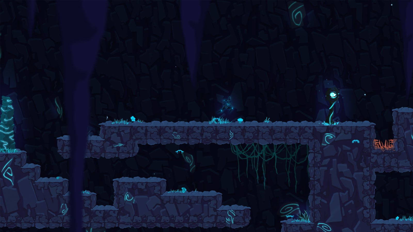 An android runs toward a glowing blue orb in a rocky, blue setting.