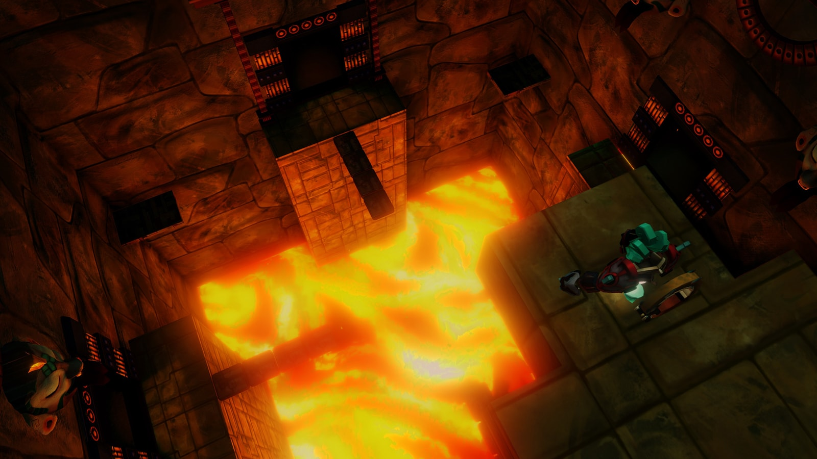A glowing red lava pit at the bottom of a stone temple room.