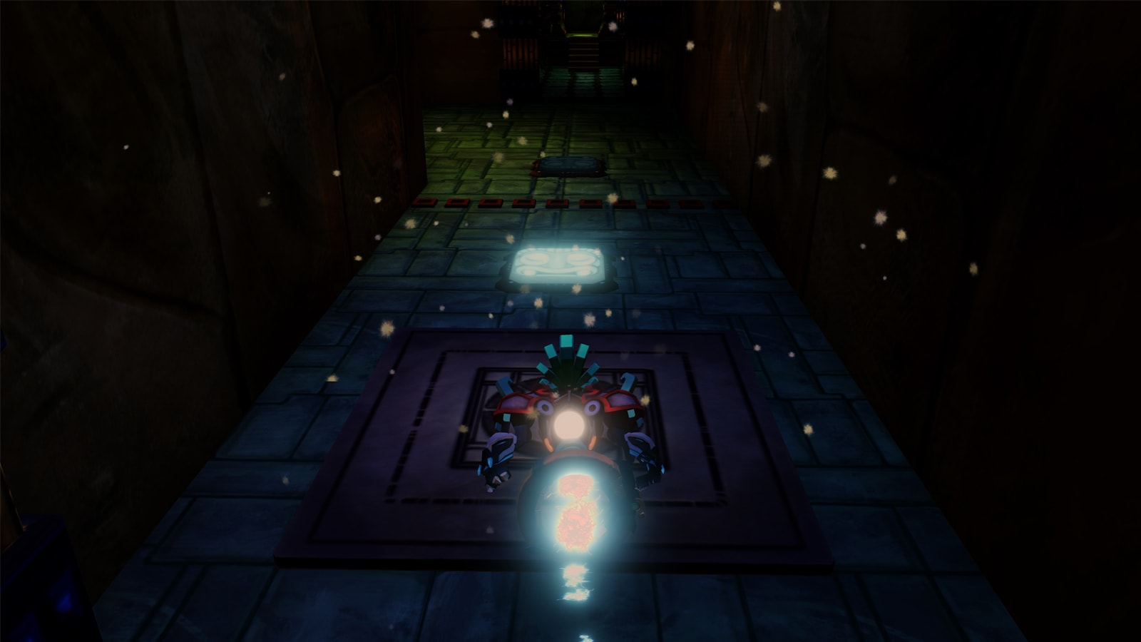 A glowing avatar floats down a stone corridor towards a glowing stone face.