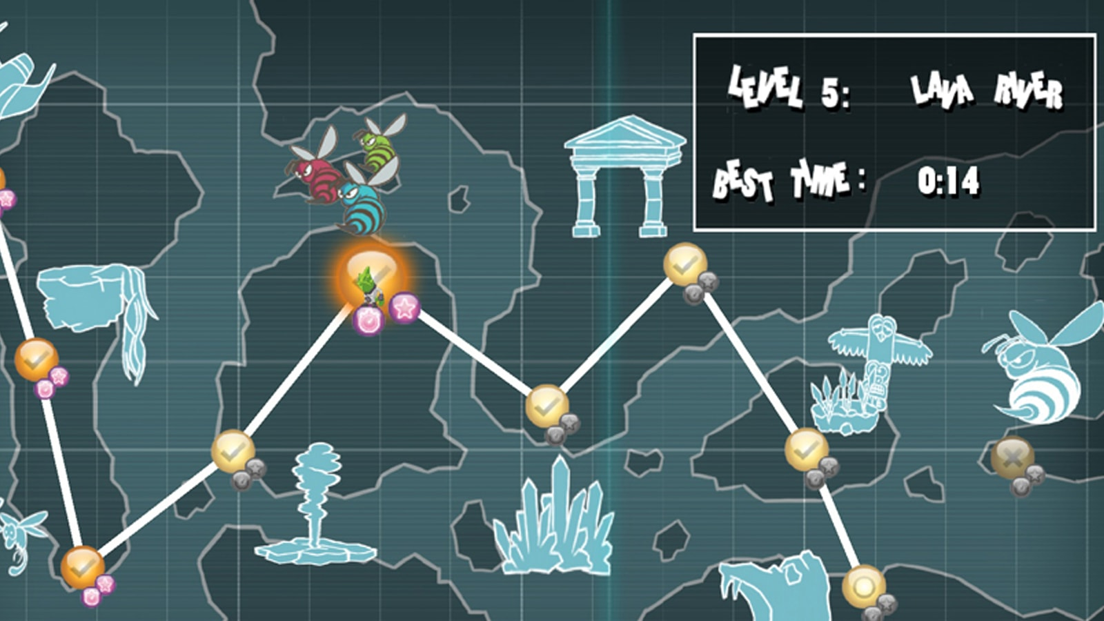 The game's overworld map, full of icons for different levels.
