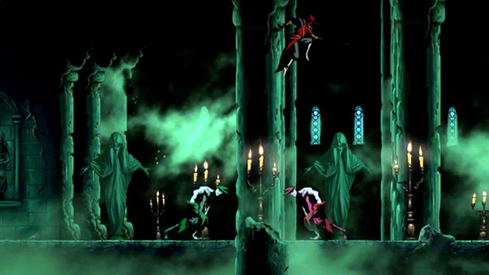 A swordsman in red leaps above two zombies in a decrepit church.