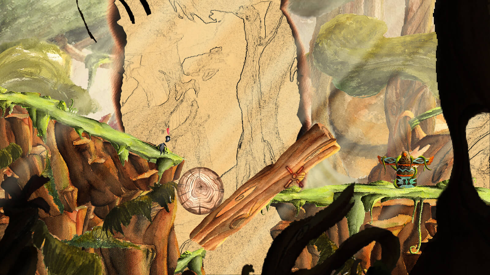 In a bright, 2D jungle scene, a black figure stands before a large ravine bridged by logs wedged against each other.