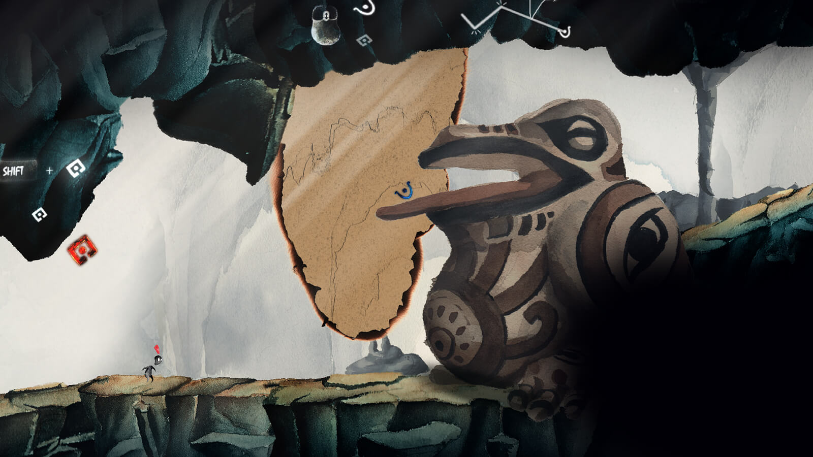A 2D painted cave scene in which a small black figure's path is barred by a giant, ornate stone frog statue.