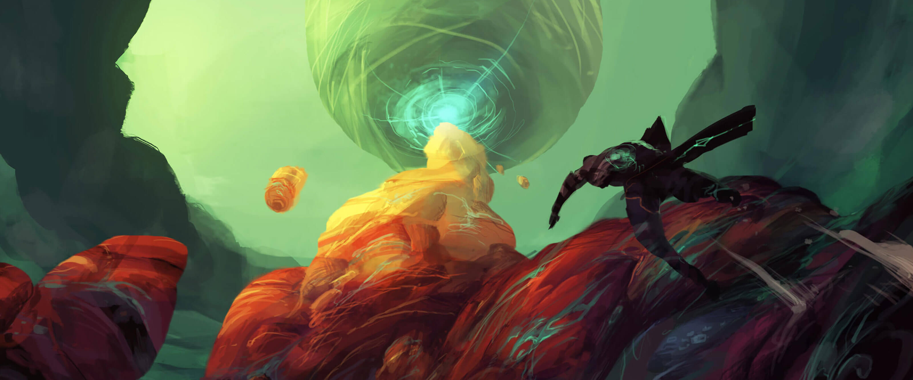 A figure runs up a multicolored stone outcropping toward a stony sphere hanging precariously against a hazy green alien sky.