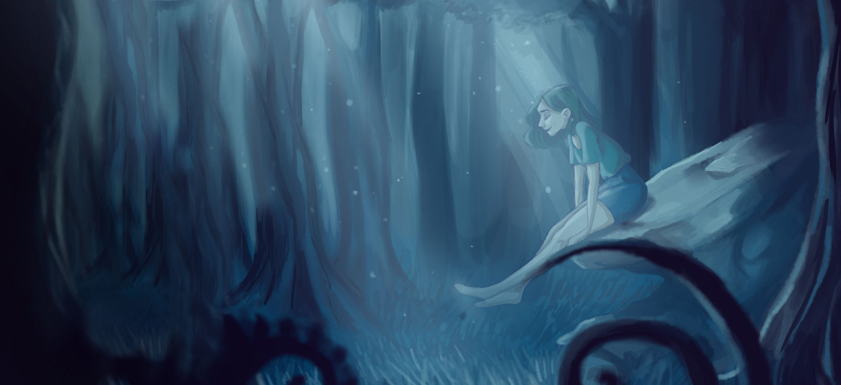 A woman sitting contentedly on an elevated rock in a forest clearing bathed in a dim light from the sky.