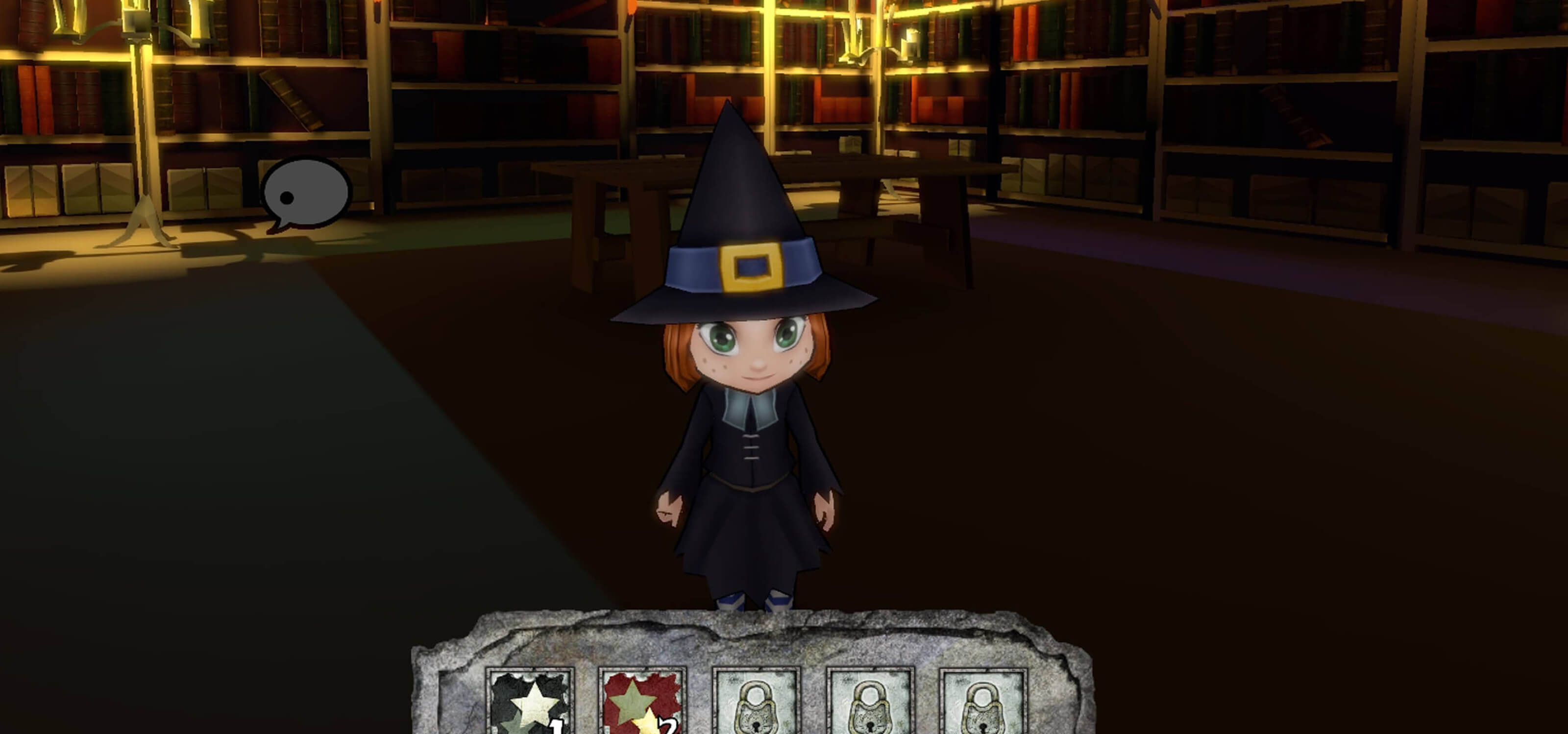Screenshot of main game character Sorgina, a young witch's apprentice, in a darkened library