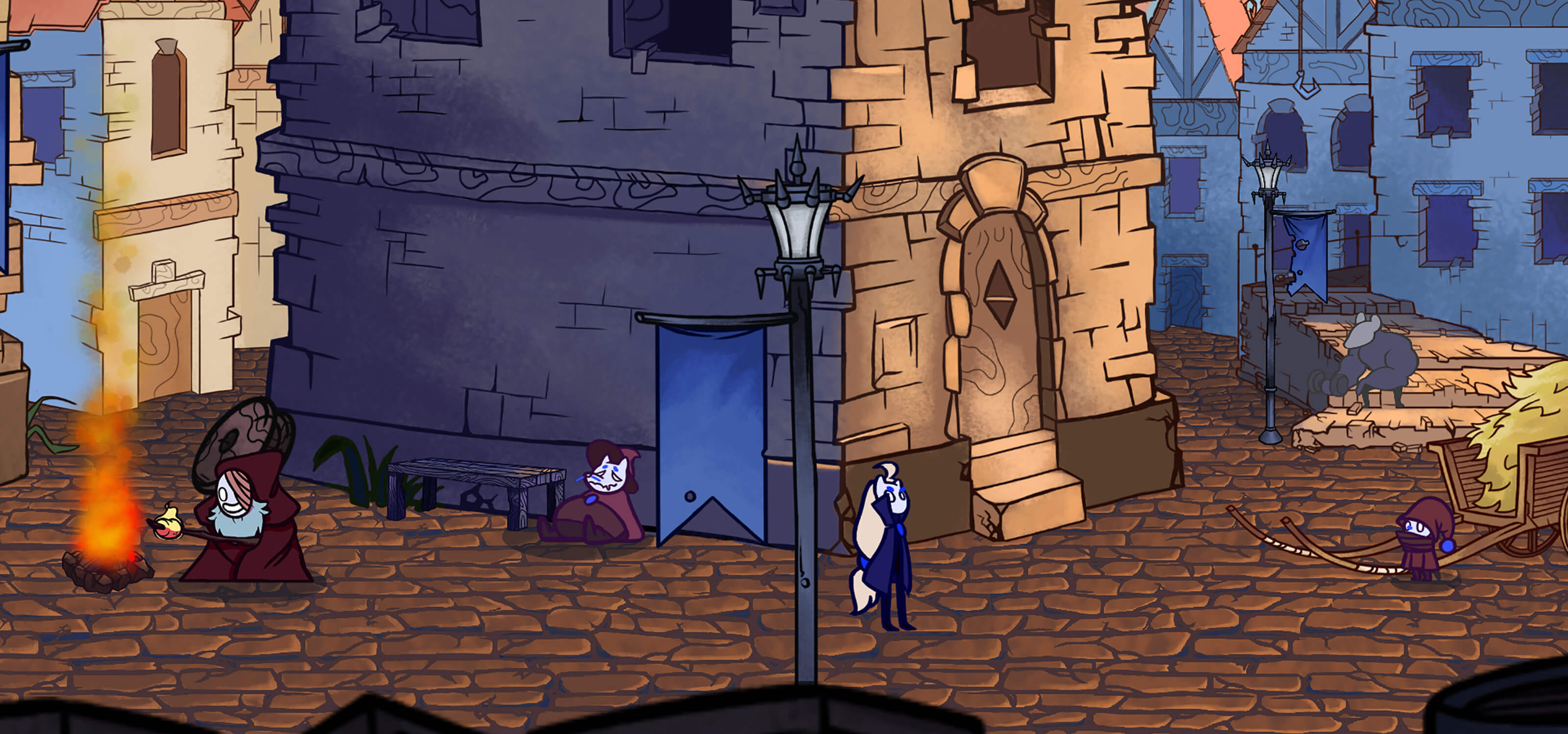 Screenshot from award-winning student game Jera, featuring a village scene with various characters
