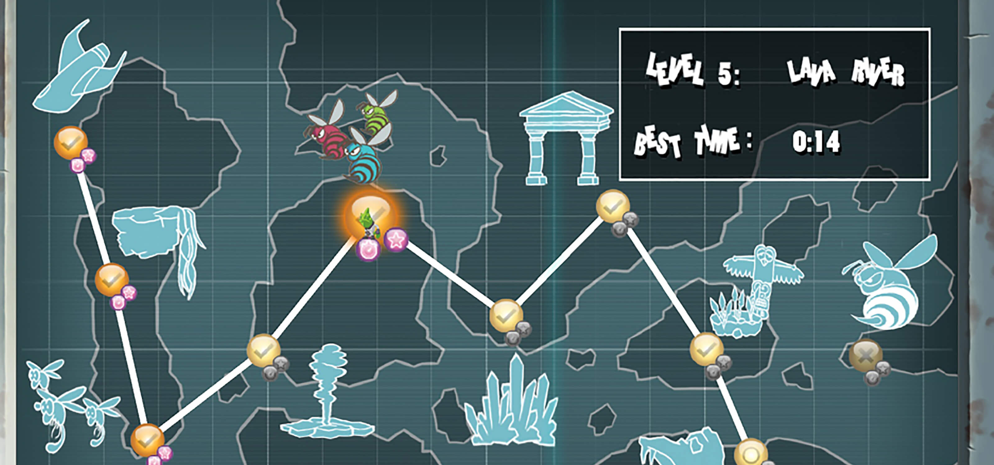 Twisted's overworld map, full of icons for different levels
