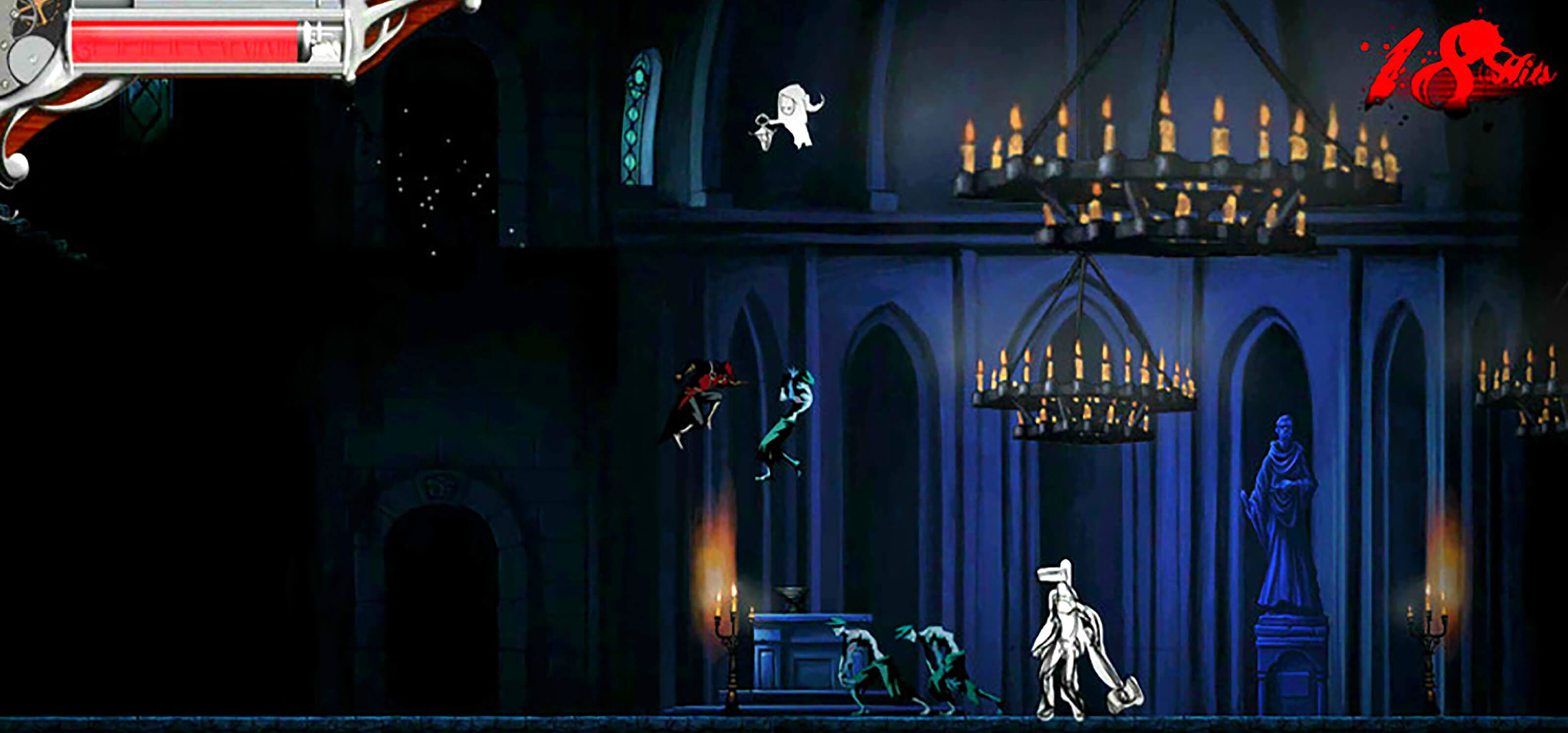 A swordsman in red fights a green zombie in midair in a spooky church