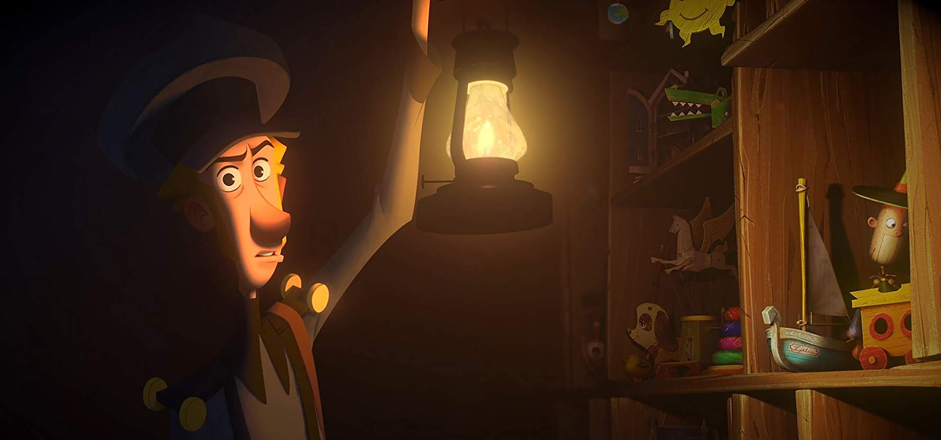 Still shot from the film Klaus: a postmaster holds a lantern in a dark room, revealing shelves of toys.