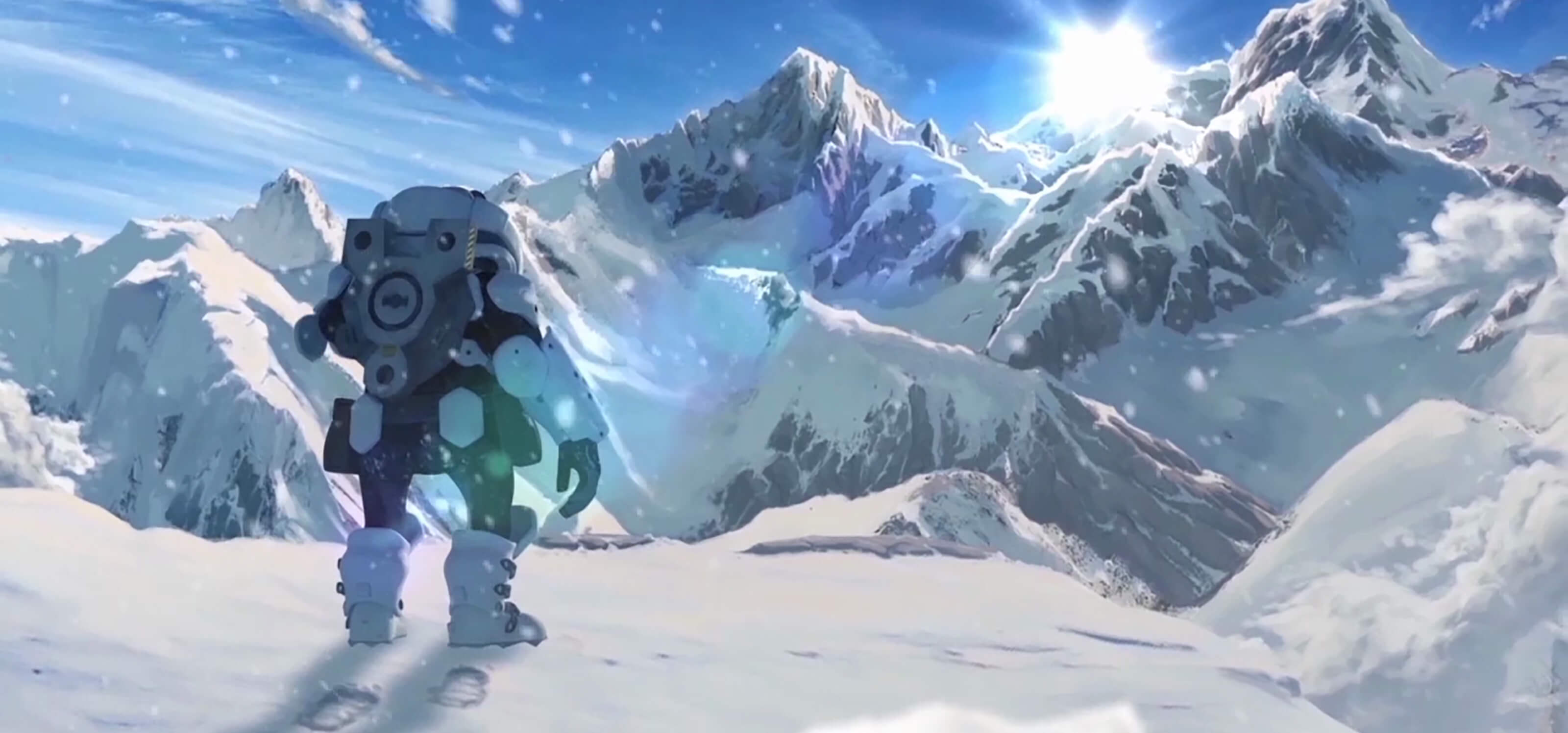 Screenshot from student film Level 1457 LAST of the main character gazing at snowy mountains