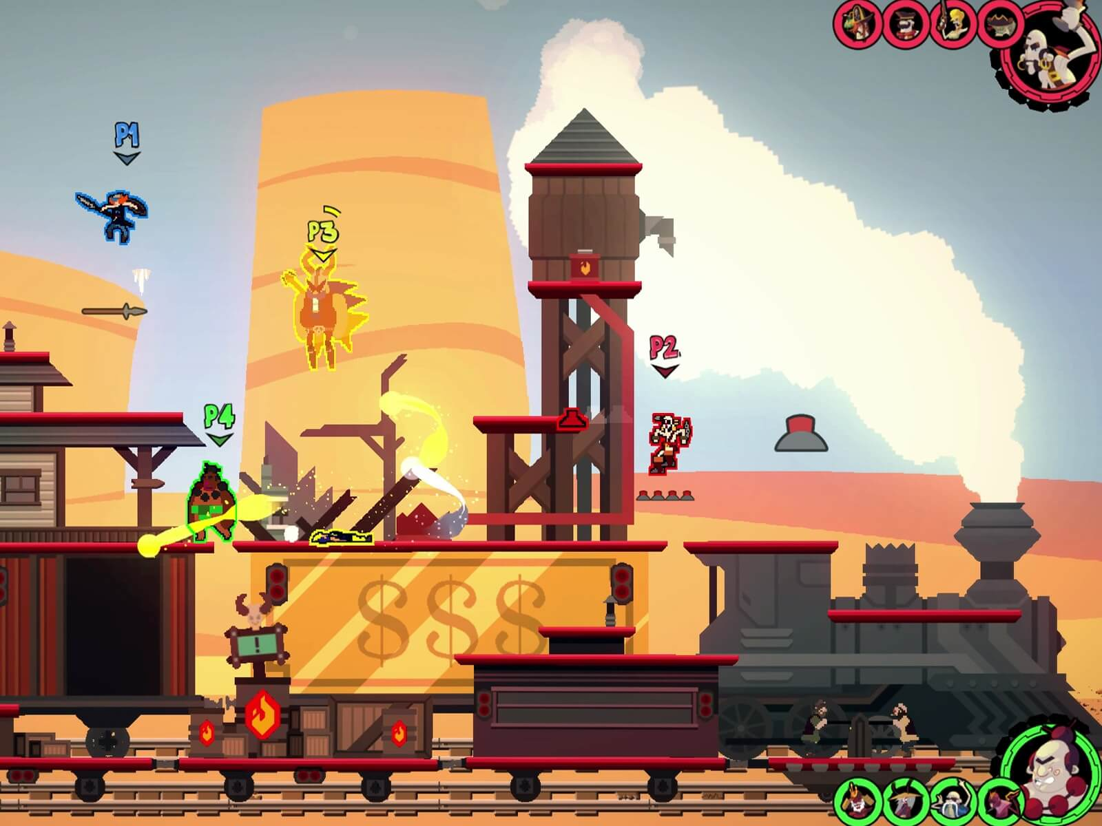 Screenshot from the Kaia Studios game Dynasty Feud, featuring a steam train passing through a western-style town