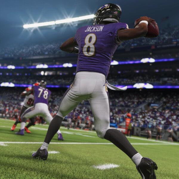 Madden NFL 21 screenshot: Quarterback Lamar Jackson readies for a pass.