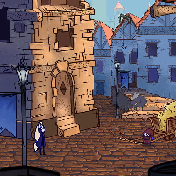 Screenshot from award-winning-student-game Jera, featuring a village scene with various characters