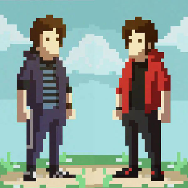 Pixel art self-portrait of Xabier and Julen Urrutia Perez