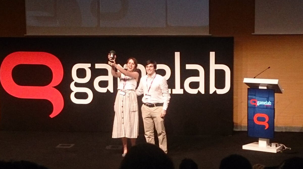 Members of Team Tannhauser on stage accepting their award at Gamelab