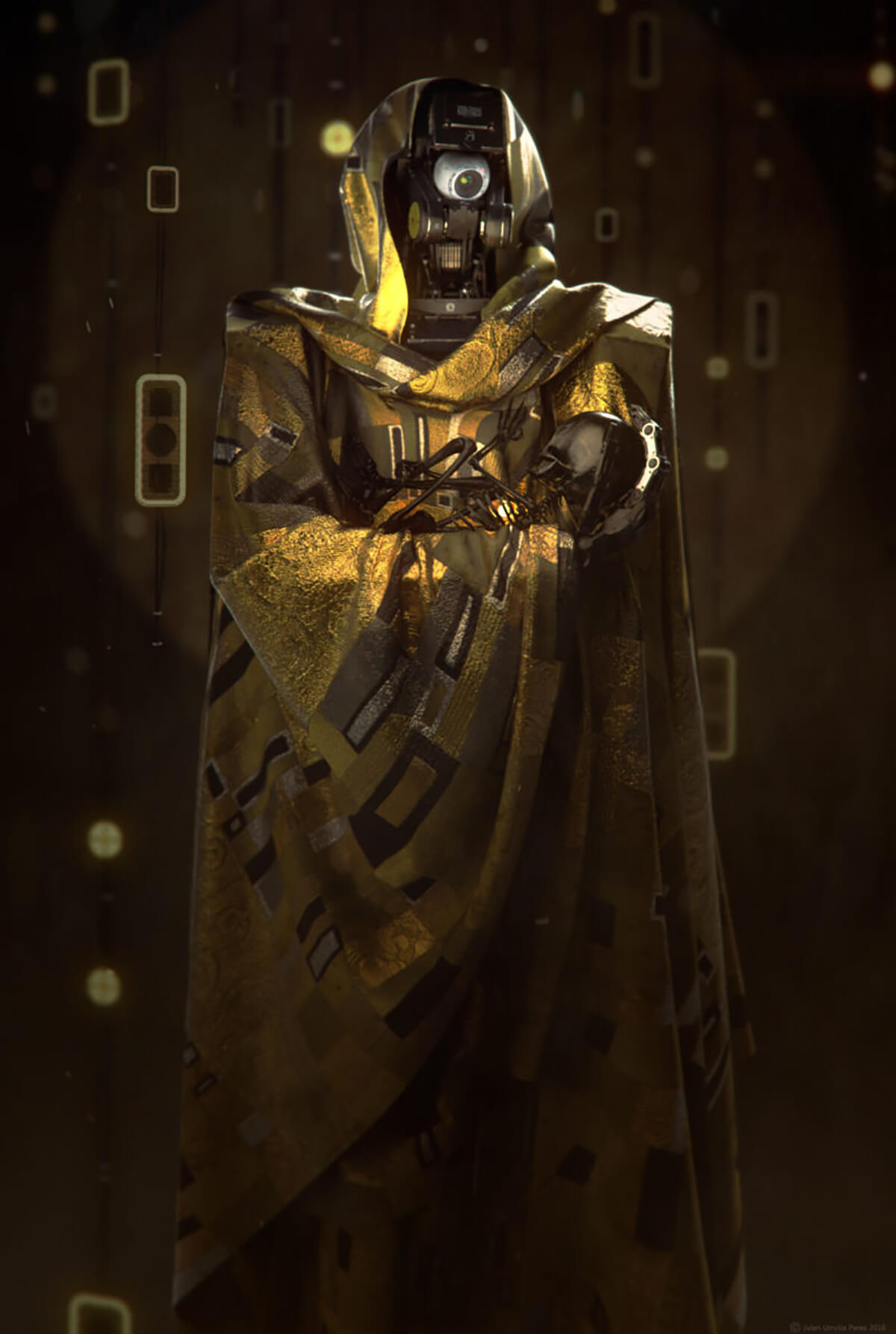 A one-eyed robot in a golden hood and cape, inspired by the work of Gustav Klimt