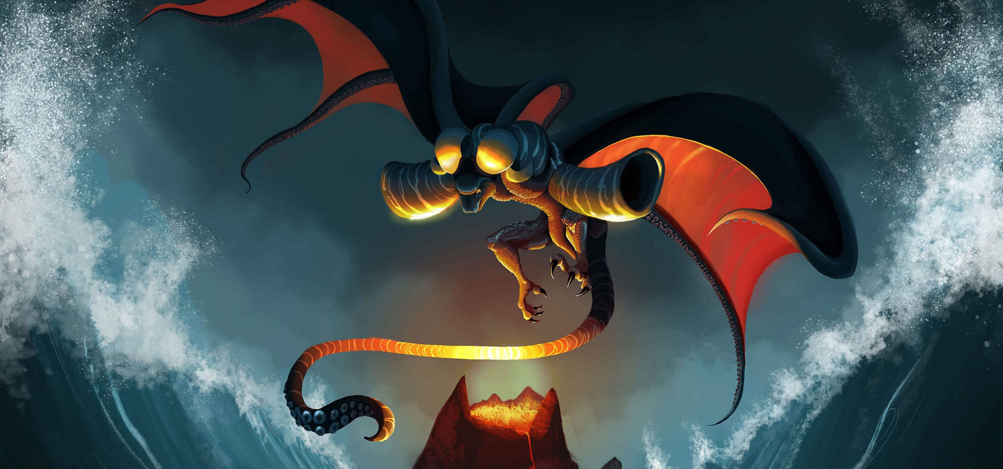 A creature with dragon and octopus characteristics hovers over a volcano with waves crashing on either side