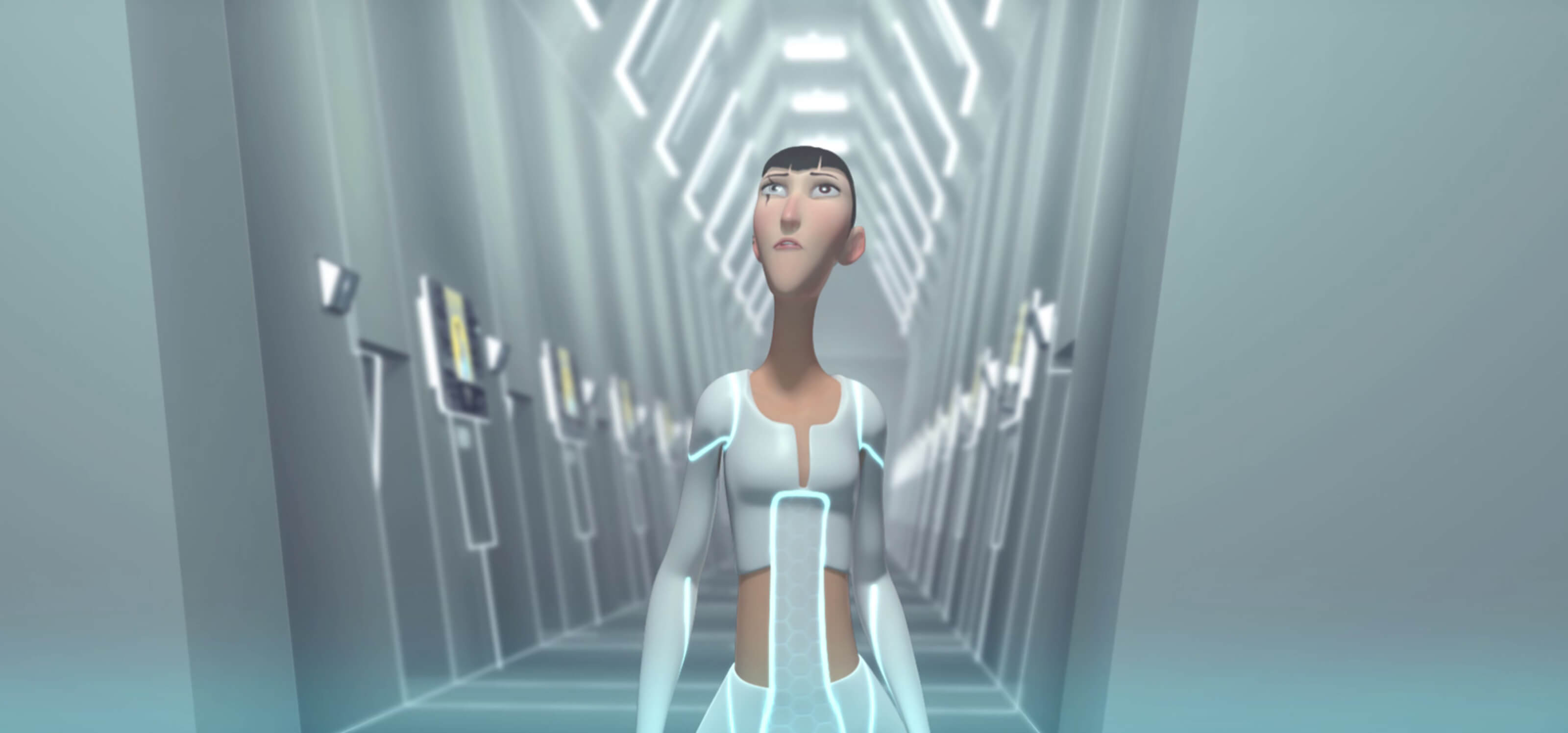 Screenshot from DigiPen Europe-Bilbao student animation REA of the main character walking down a futuristic hallway